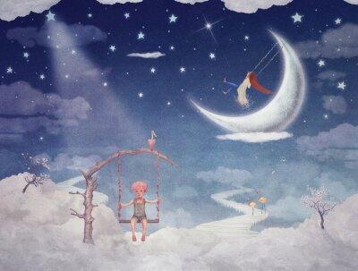 Cuadro Ciudad de los niños en fantásticas nubes en el cielo