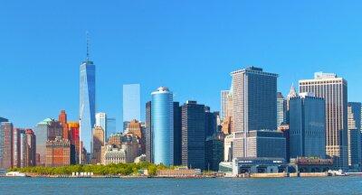 Cuadro Ciudad de Nueva York edificios del distrito calle pared inferior financiero de Manhattan horizonte en un hermoso día de verano con el cielo azul