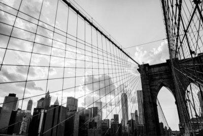 Cuadro Ciudad de Nueva York, Puente de Brooklyn horizonte blanco y negro