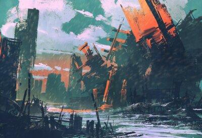 Cuadro Ciudad del desastre, paisaje apocalíptico, pintura de la ilustración