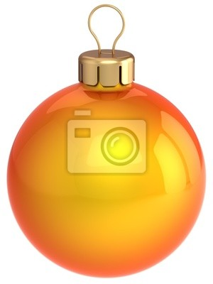 Clásico Navidad bola. Naranja chuchería decoración brillante (alta resolución)