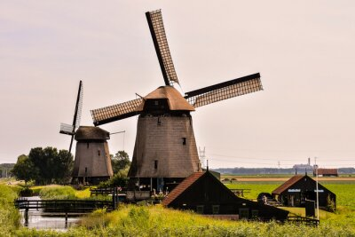 Classic Vintage Windmill in Holland , digitally created image