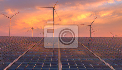 clean energy concept, photovoltaic panels and wind turbines