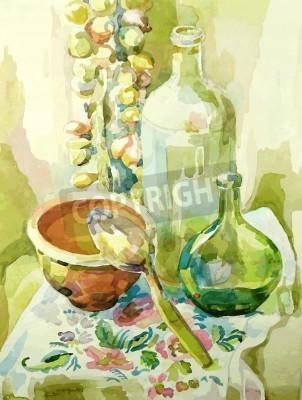 Cuadro Cocina a mano acuarela todavía la vida con la olla, la botella de vidrio, la cuchara y el arco