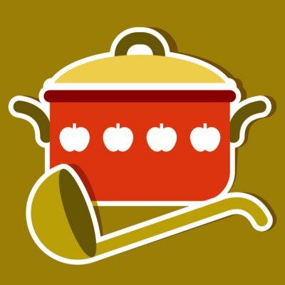 Cuadro Cocinar el crisol y una cuchara. Vector los símbolos de la cocina