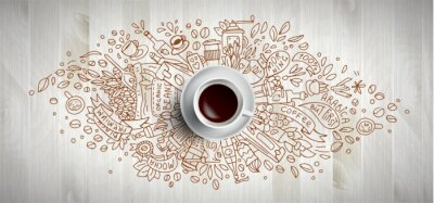 Cuadro Coffee concept on wooden background - white coffee cup, top view with doodle illustration about coffee, beans, morning, espresso in cafe, breakfast. Morning coffee vector illustration. Hand draw and