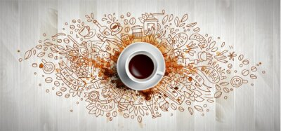 Cuadro Coffee concept on wooden background - white coffee cup, top view with doodle illustration about coffee, beans, morning, espresso in cafe, breakfast. Morning coffee vector illustration with coffee