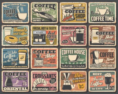 Cuadro Coffee cups and espresso machine grunge posters of cafe vector design. Hot drink and beverage mugs with cappuccino, latte and mocha, coffee bean grinder, pot and paper cup, croissant, sugar and milk