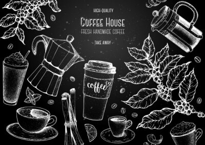Cuadro Coffee cups, beans and coffee tree illustration. Vintage design for coffee shop. Engraved vector illustration.