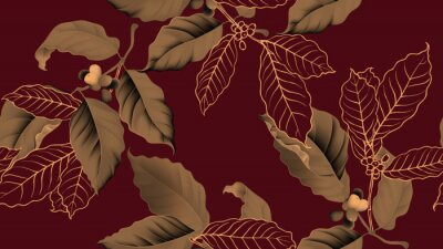 Cuadro Coffee tree seamless pattern, branch of coffee tree in golden brown on dark red background, vintage style
