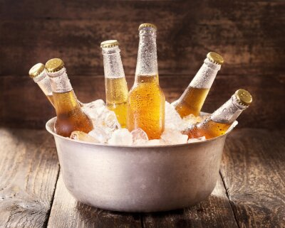 Cuadro cold bottles of beer in bucket with ice