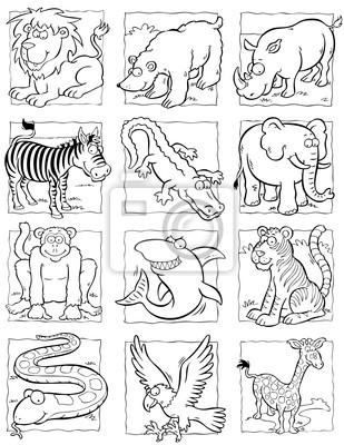 Colección de dibujos animados de animales salvajes pinturas para la ...