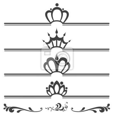 Colección de encabezados de texto de la vendimia con las coronas ...