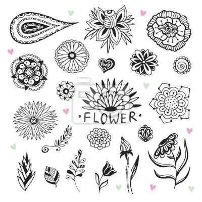 Colección de flores vectoriales en estilo zentangle. ilustración ...