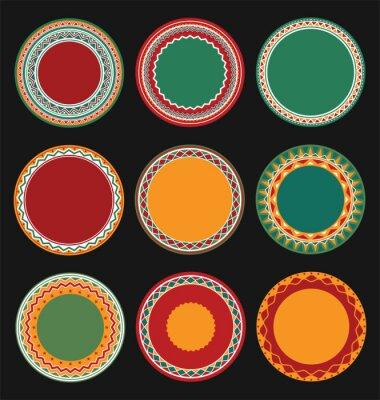 Cuadro Colección de marcos de frontera decorativos redonda mexicana con fondo negro lleno