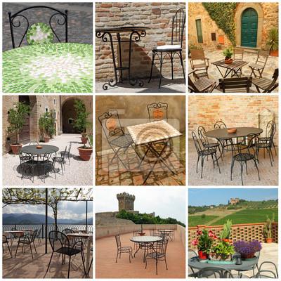Colección de muebles de jardín en terrazas italianas pinturas para ...