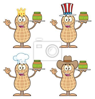 Colección de personajes de dibujos animados de cacahuete 2. aislado ...