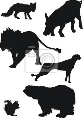 colección de siluetas de animales