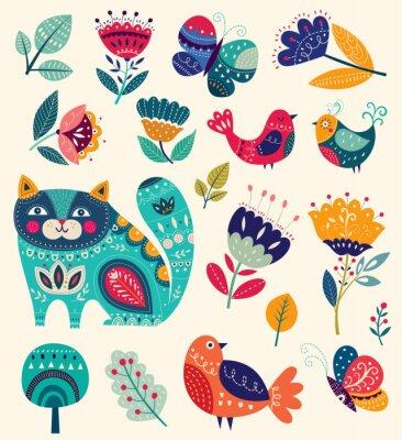Cuadro Colección de vectores con flores, gato decorativo, mariposa y aves