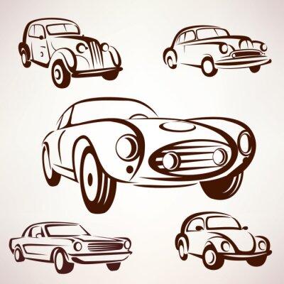 Cuadro Colección de vectores de coches retro deign elementos para etiquetas y emblema