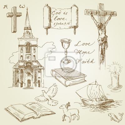Colección drenada cristianismo a mano