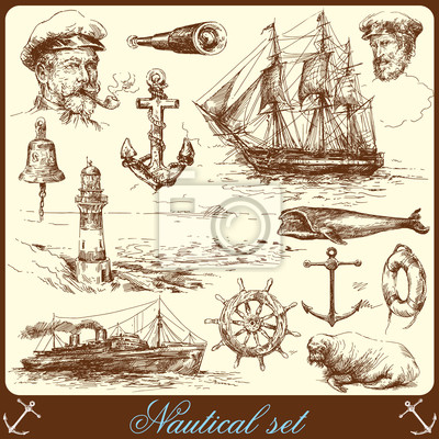 Colección drenada náuticas elementos a mano