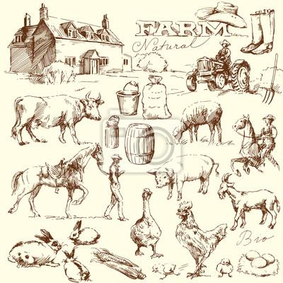 colección granja - conjunto de dibujado a mano