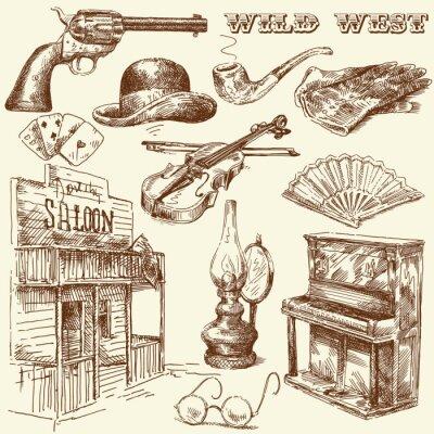 colección salvaje oeste dibujado a mano