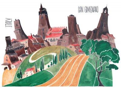 Cuadro Colinas de la Toscana. Naturaleza estilizada y arquitectura de Italia. Una ilustración de una acuarela.