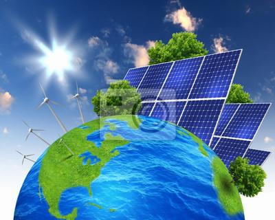 Collage con baterías solares