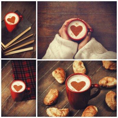 Cuadro Collage de fotos con la taza y la forma del corazón.