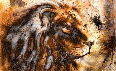 Cuadro Collage de león en el color estructura extracto fondo, óxido,