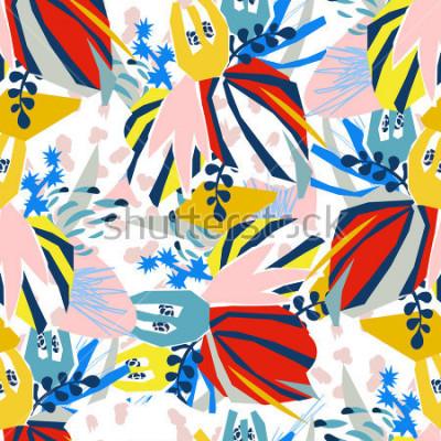 Cuadro Collage de papel de elementos florales abstractos. Mano del ejemplo del vector dibujada Bosquejo listo para el cartel plano escandinavo contemporáneo del diseño, invitación, postal, diseño de la camis