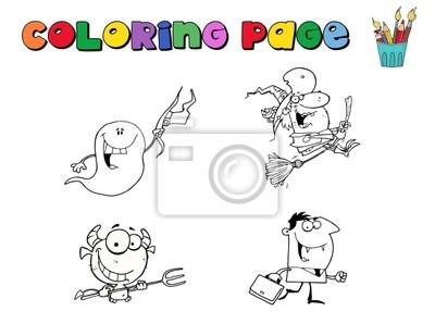 Collage digital de caracteres de halloween para colorear contornos ...