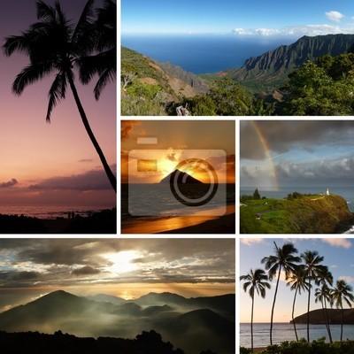 Collage Hawaii con varias fotos típicas