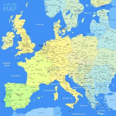 Cuadro Color Europe map