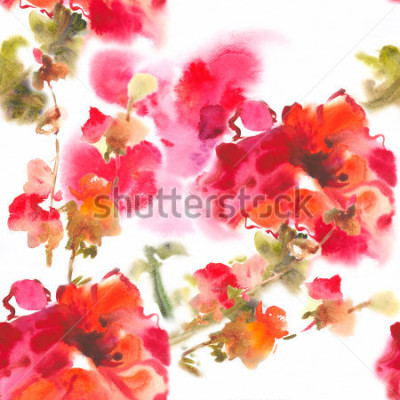 Cuadro Color illustration of flowers in watercolor paintingsAlbum