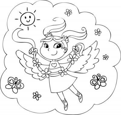 Colorear dibujos animados de cuento de dama con flores pinturas para ...