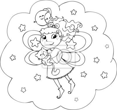 Colorear dibujos animados de cuento de dama en el cielo nocturno ...