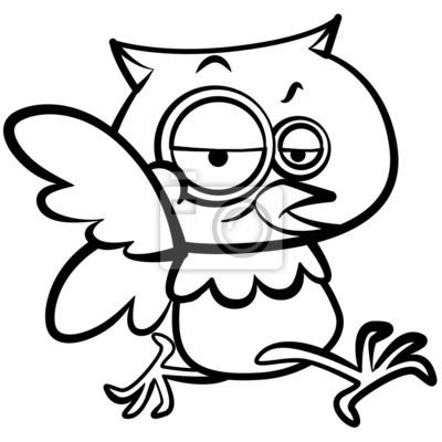 Colorear dibujos animados humor búho correr con el fondo blanco ...