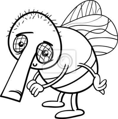 Colorear dibujos animados mosca divertida pinturas para la pared ...