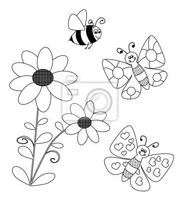 Cuadro Colorear Flores Y Volar Butterlies Y Abeja Para Colorear Para