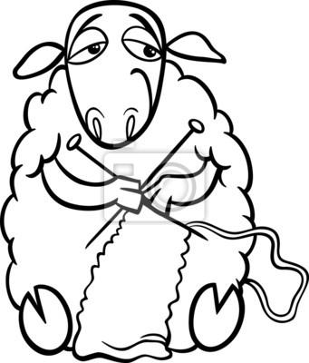 Colorear ovejas que hace punto pinturas para la pared • cuadros ...
