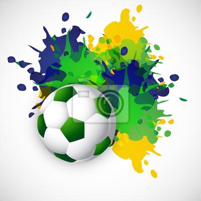 Colores brasil salpican balón de fútbol grunge diseño de vectores ...