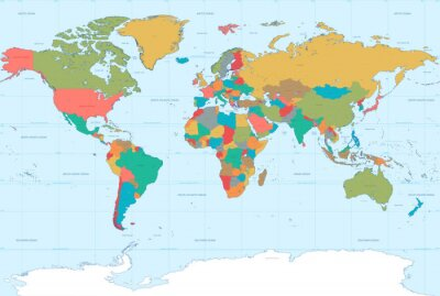 Cuadro Colores planos Mapamundi