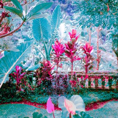 Cuadro Colores surrealistas del jardín tropical de fantasía con increíbles plantas y flores