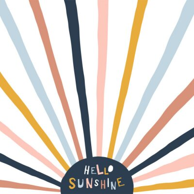 Cuadro Colorful childish illustration with sun and text. Hello sunshine paper cut style lettering. Typographic print for kids nursery design.
