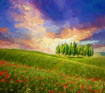Cuadro Colorful evening sunset with famous group of cypress tress and red poppy flowers on the rolling hills in summer time at Tuscany, Italy.- oil painting.