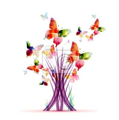 Colorido abstracto vector árbol con mariposas pinturas para la pared ...