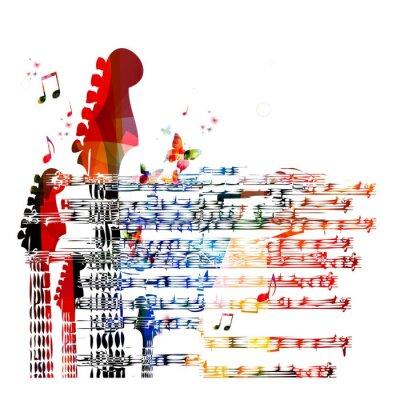 Cuadro Colorido de la música de fondo de guitarra. Vector